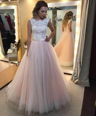 Lace Tulle Vintage Lace-up Sleeveless A-Line Wedding Dresses_2