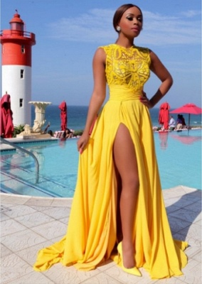 Yellow Chiffon Prom Dresses Thigh-High Slit Sexy Summer Evening Gowns_1