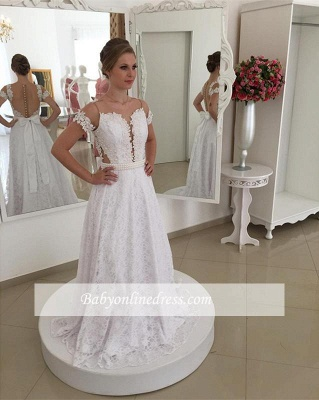 Pearls Short-Sleeve Long A-line White Elegant Lace Bow Wedding Dress_1