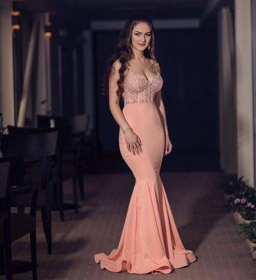 V-neck Spaghetti Floor-length Chiffon Appliques Mermaid Prom Dresses_3