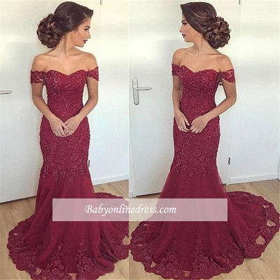 Long Lace Glamorous Appliques Off-the-Shoulder Mermaid Burgundy Evening Dress_1