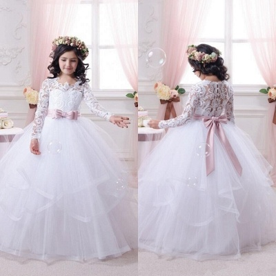 New Arrival Ball Gown Lace-Appliques Long-Sleeves Flower-Girl-Dresses_3