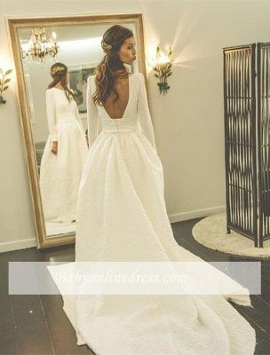 New Arrival A-line Sweep-Train Bridal Gowns Open Back Long-Sleeve Jewel Wedding Dress_1
