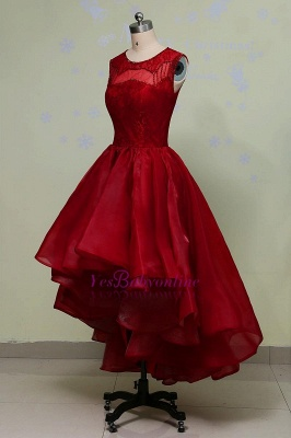 Glamorous Hi-Lo Red Prom Dress Sleeveless Sequins Lace Evening Gowns_3
