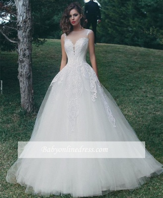 Glamorous A-Line Appliques Bridal Gowns Sleeveless Tulle Wedding Dresses_1