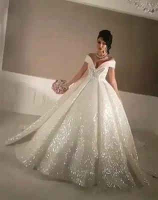 Glittering Ball Gown Wedding Dresses   Off-the-Shoulder Bridal Gowns_6