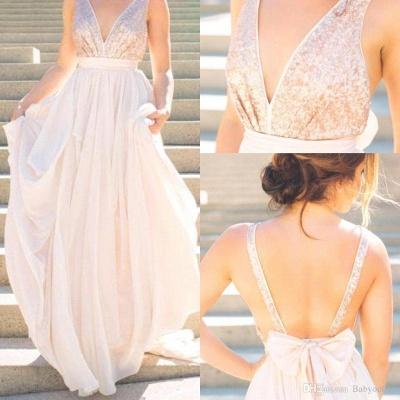 V neck Chiffon Sequins Backless Formal Prom Dresses_2
