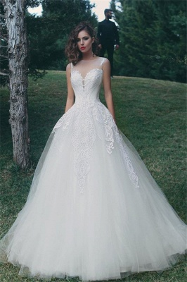 Glamorous A-Line Appliques Bridal Gowns Sleeveless Tulle Wedding Dresses_2