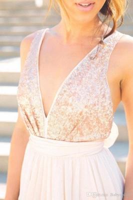V neck Chiffon Sequins Backless Formal Prom Dresses_4