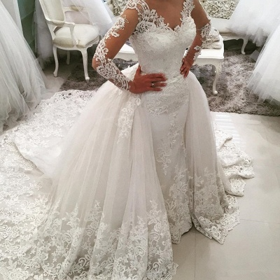 Elegant Tulle Long Sleeves V-Neck Appliques Wedding Dresses with Detachable OverSkirt_4