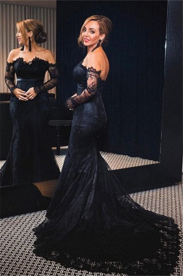 Off-shoulder Long Sleeves V-neck Lace Sweep-train Mermaid Prom Dresses_1