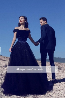 Dark Navy Off-the-Shoulder Beadings Tulle A-Line Prom Dresses_3