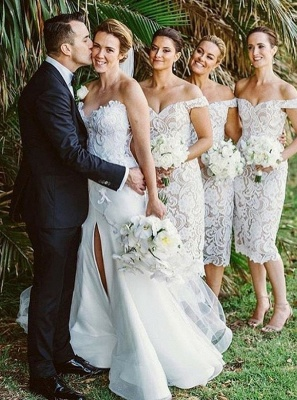 Off-the-Shoulder Bridesmaid Dresses | Lace Sheath Tea Length Maid of the Honor Dresses_3