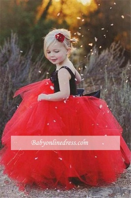 New Tulle Ball Gown Straps Black Red Flower Girl Pageant Dress_1