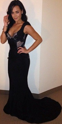 Alluring Black Backless Prom Dresses Mermaid Lace Sweep Train Evening Gowns_3