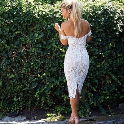 Off-the-Shoulder Bridesmaid Dresses | Lace Sheath Tea Length Maid of the Honor Dresses_4