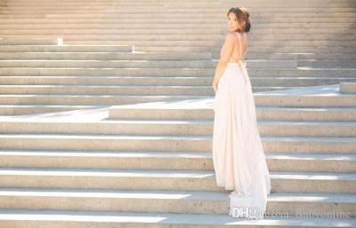 V neck Chiffon Sequins Backless Formal Prom Dresses_3