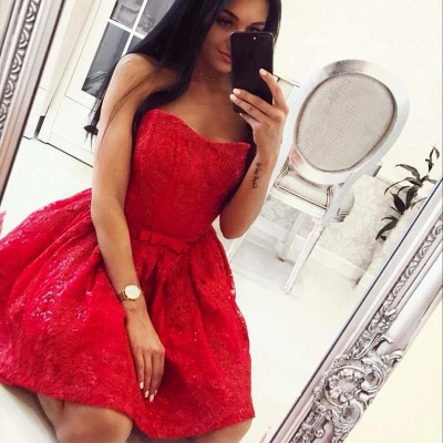 Elegant A-Line Lace Homecoming Dresses | Sexy Strapless Short Cocktail Dresses_4