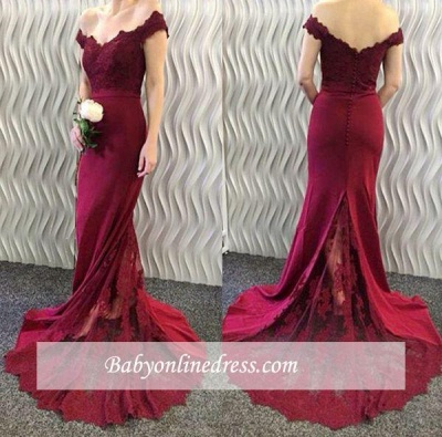2018 Burgundy Lace Appliques Long Off-the-Shoulder Mermaid Prom Dresses LY86_1