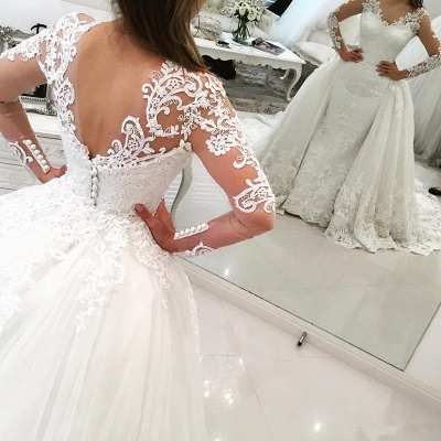 Elegant Tulle Long Sleeves V-Neck Appliques Wedding Dresses with Detachable OverSkirt_3
