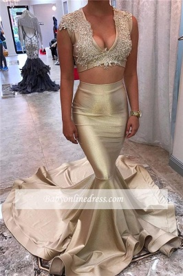 Lace V-neck Champagne-Gold Two-Piece Sexy Sleeveless Mermaid Long-Train Appliques Prom Dress_1