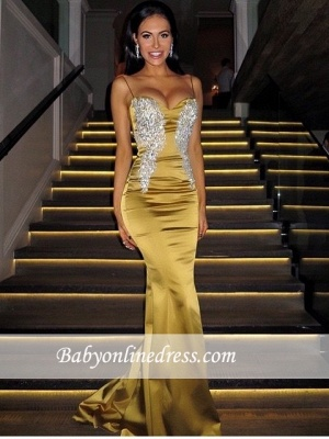 Sweetheart Spaghetti-Straps Sexy Mermaid Long Applique Prom Dresses_3