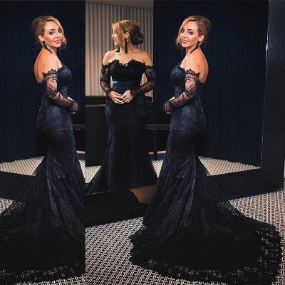 Off-shoulder Long Sleeves V-neck Lace Sweep-train Mermaid Prom Dresses_3