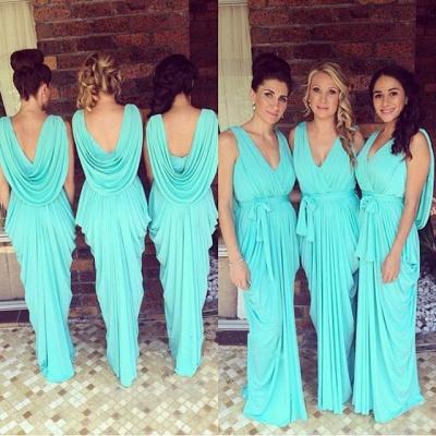 Simple V-Neck Sheath Bridesmaid Dress Chiffon Ruffles Open-Back Party Dress_3