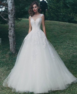 Glamorous A-Line Appliques Bridal Gowns Sleeveless Tulle Wedding Dresses_3