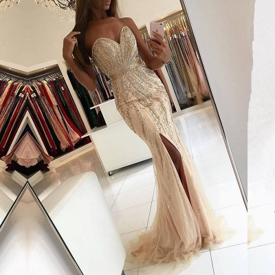 Luxury Beading Mermaid Prom Dresses | Sweetheart Side-Slit Evening Dresses Sweep Train_3