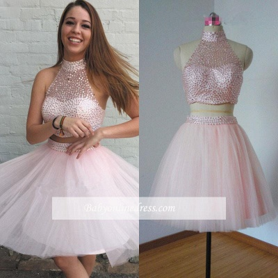Beaded Chic Neck Pink Two-Piece High Homecoming Dresses_1