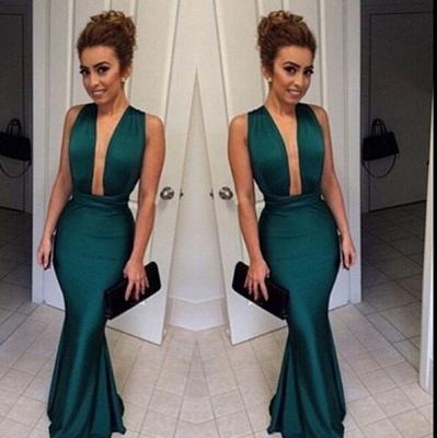 Dark Green Mermaid Prom Dresses Deep V Neck Long Sexy Evening Gowns_3