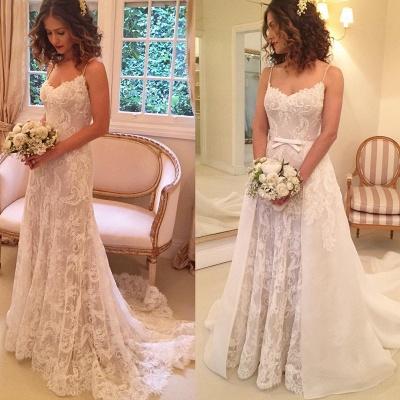 Sexy Sheath Backless Appliques Spaghetti-Straps Wedding Dresses_4