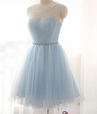 Illusion Sleeveless A-line Newest Tulle Beads Mini Homecoming Dress_3