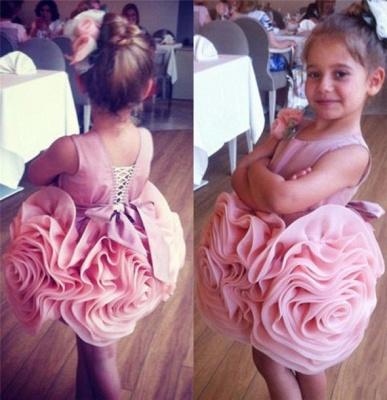 Short Flower Girl's Dresses Ruffles Flower Skirt Pink Cute Girl's Formal Party Dresses_1