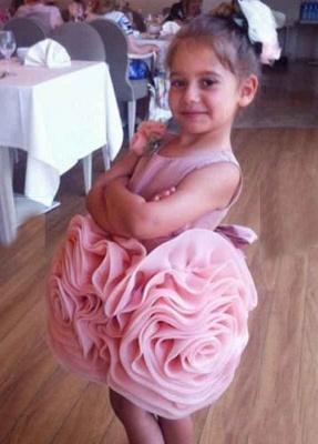 Short Flower Girl's Dresses Ruffles Flower Skirt Pink Cute Girl's Formal Party Dresses_5