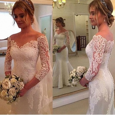 Off-the-shoulder Mermaid 3/4 Sleeves Wedding Dress with Buttons_3