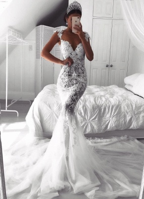 Sexy Lace Mermaid Wedding Dresses | See-Through Cap Sleeves Tulle Bridal Gowns_2
