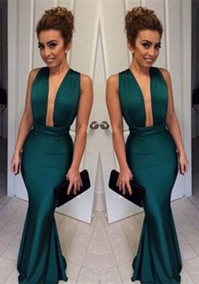 Dark Green Mermaid Prom Dresses Deep V Neck Long Sexy Evening Gowns_1