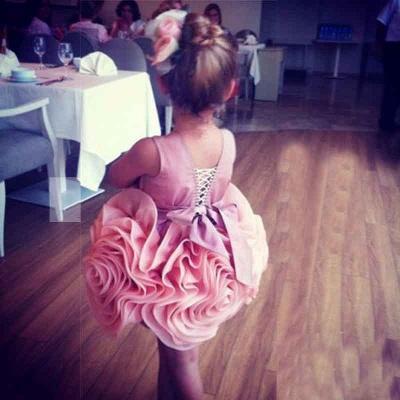 Short Flower Girl's Dresses Ruffles Flower Skirt Pink Cute Girl's Formal Party Dresses_3