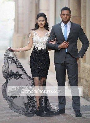 2018 Lace-Appliques Sheer Mermaid Long-Sleeves Beading White-Black Prom Dresses_1