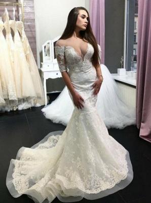 Deep V-Neck Mermaid Wedding Dresses | Half Sleeves Long Dresses For Bridal_3