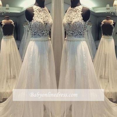 Scoop Hollow Sleevess Simple Sweep Train A-line Wedding Dress_1