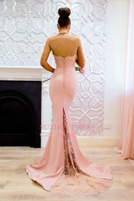 Elegant Pink Mermaid Bridesmaid Dresses | High Neck Lace Formal Dresses_3