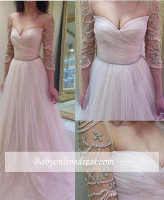 2018 Delicate Sleeves Ruffles Sweetheart A-Line Tulle Prom Dresses with Beadings_3