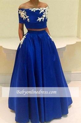 Royal Blue Two Pieces Appliques A-Line Off-the-Shoulder Prom Dress_3