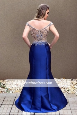 Zipper Blue Off-the-Shoulder Sexy Crystal Prom Dress_3