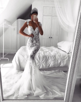 Sexy Lace Mermaid Wedding Dresses   See-Through Cap Sleeves Tulle Bridal Gowns_5