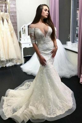 Deep V-Neck Mermaid Wedding Dresses | Half Sleeves Long Dresses For Bridal_1