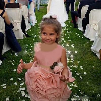 Short Flower Girl's Dresses Ruffles Flower Skirt Pink Cute Girl's Formal Party Dresses_4